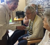 Local Mayoress enjoys a chat with residents at Newfield Lodge at their 'Time for a Cuppa' event