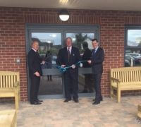 Rtd Lft Col Keith Seddon MBE (centre) officially opens Sutton-in-Ashfield Kingfisher Court with Oakdale Care co-founders Andrew Long (left) and Chris Babington (right)