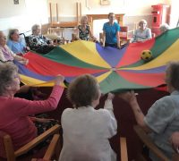 Ingleby Care Home residents have fun with an exercise