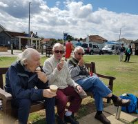Dene Holm Residents tuck into an ice cream between displays