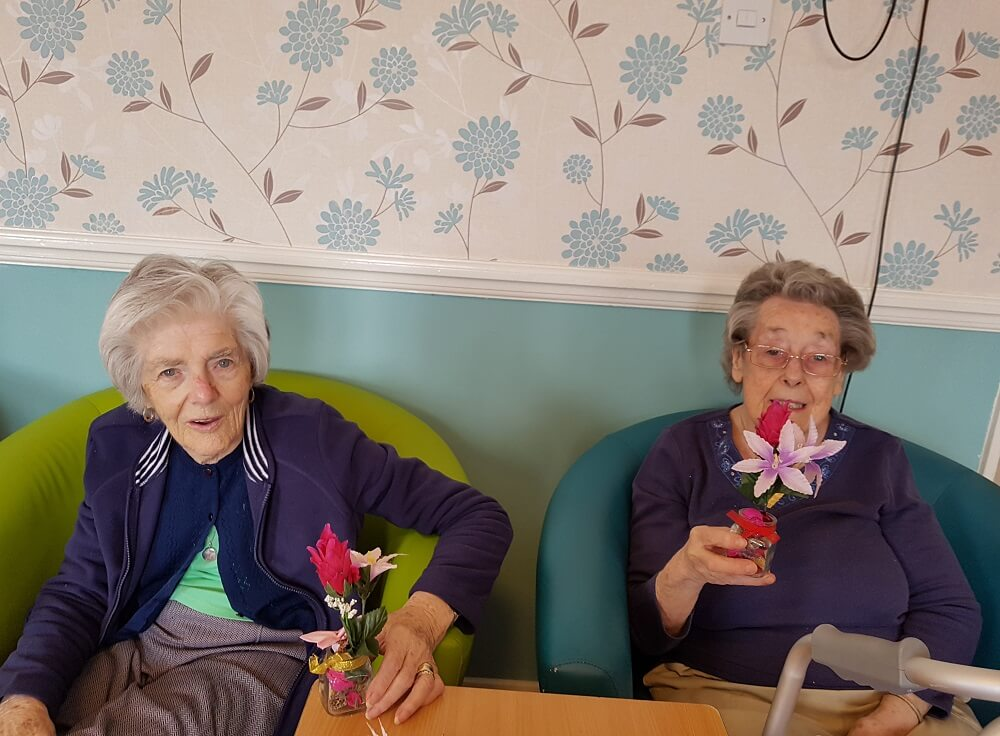 Flower arranging activities for residents at Dene Holm