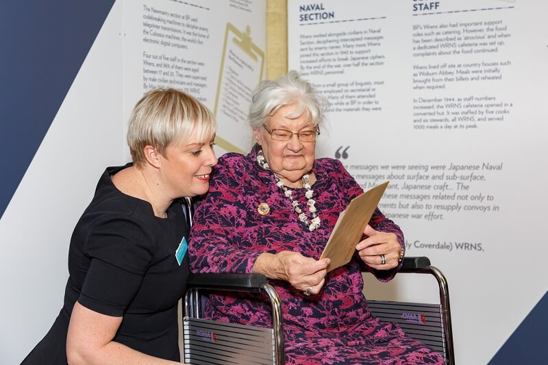 Bletchley girl, Joanna, receives commemorative badge at Bletchley Park