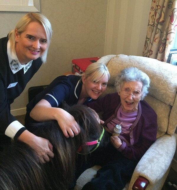 Resident and care workers meeting a shetland pony who visited for animal-assisted therapy session