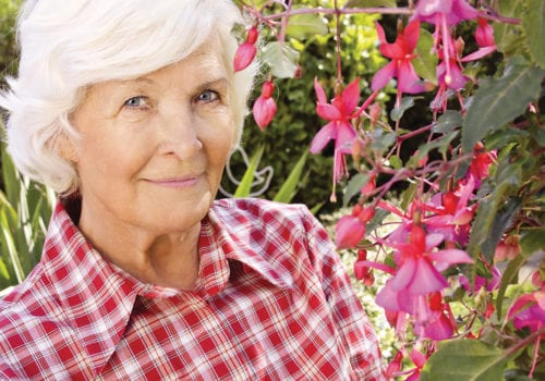 elegant elderly lady standing next to fuschia