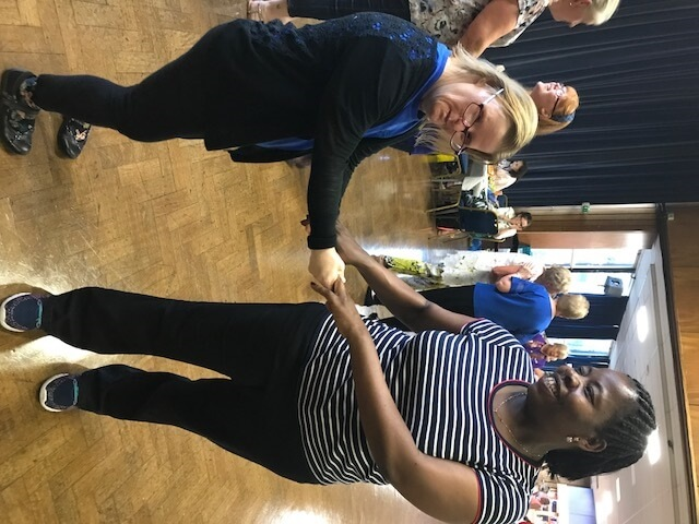 Jennifer Gibb (left), supported by social care provider Avenues Group and is the Ambassador for It Takes 2 community project, dancing with Avenues support worker