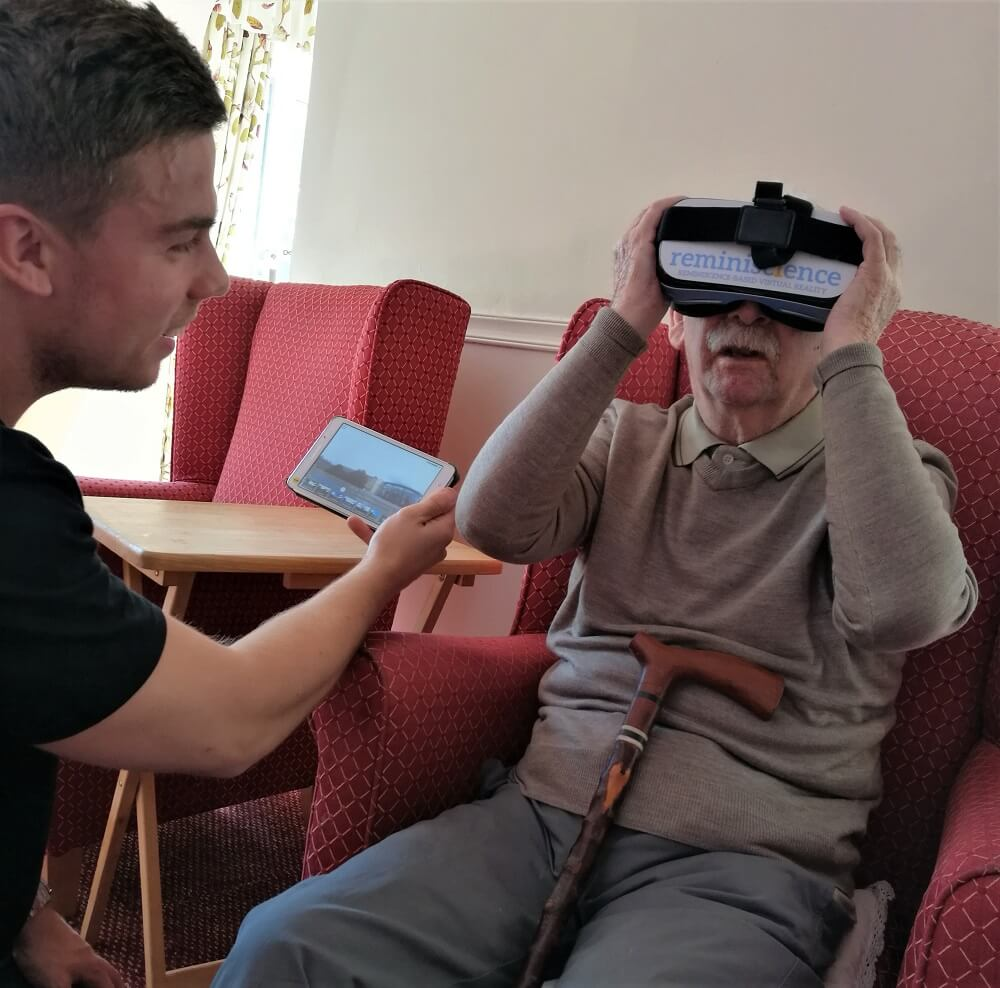 John jack experiencing VR Therapy reminiscience