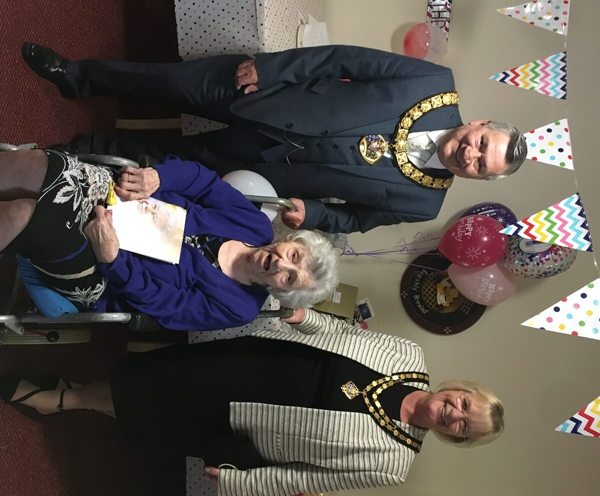 Centenarian Lilian and the Mayor and Mayoress