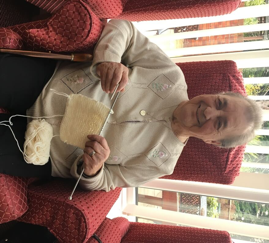 Alwyn Behan knitting blankets for premature babies