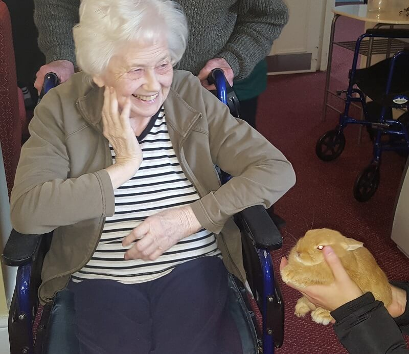 Resident Betty with one of the rabbits