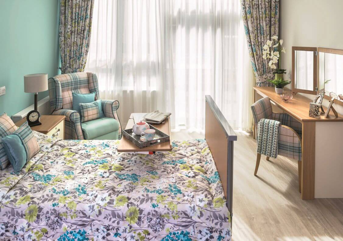 Monica Trust Charterhouse care home bedroom