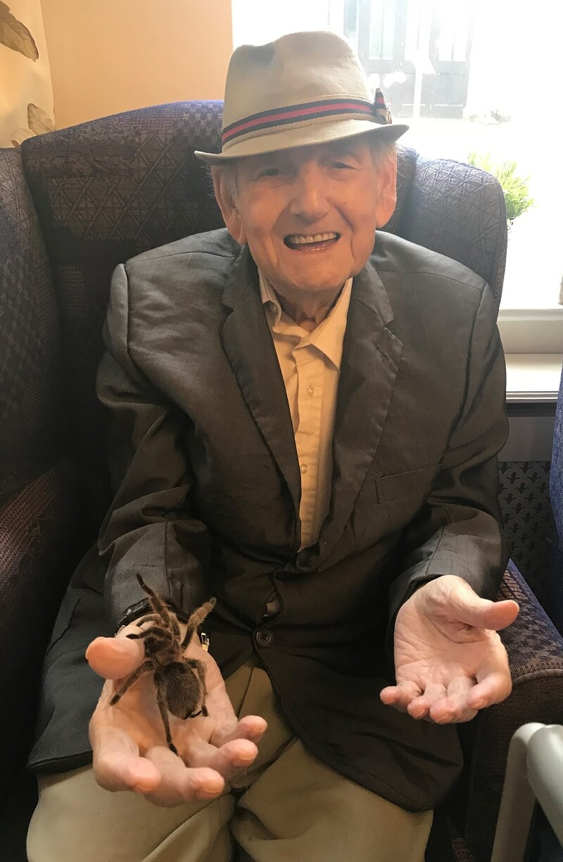 resident posing with tarantula from when exotic animals visit care home