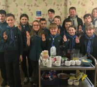 Rotherham Scout Group at the care home where they earned their community badges in intergenerational care exercise