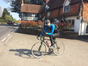 Halow rider from last year Sam Austin outside a pub