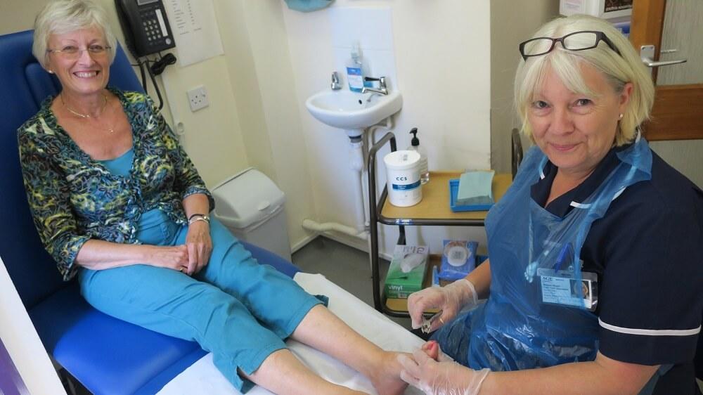 Eileen Rush (Foot Health Professional) with Rosemary Cherryman (Volunteer)