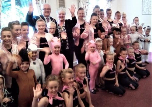 The dancers and special guests at Queens Meadow summer fayre