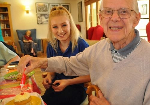 Aldbury resident Bernard Wickenden with his cupcake for dementia research