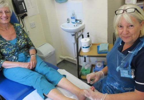 Eileen Rush (Foot Health Professional) with Rosemary Cherryman (Volunteer)