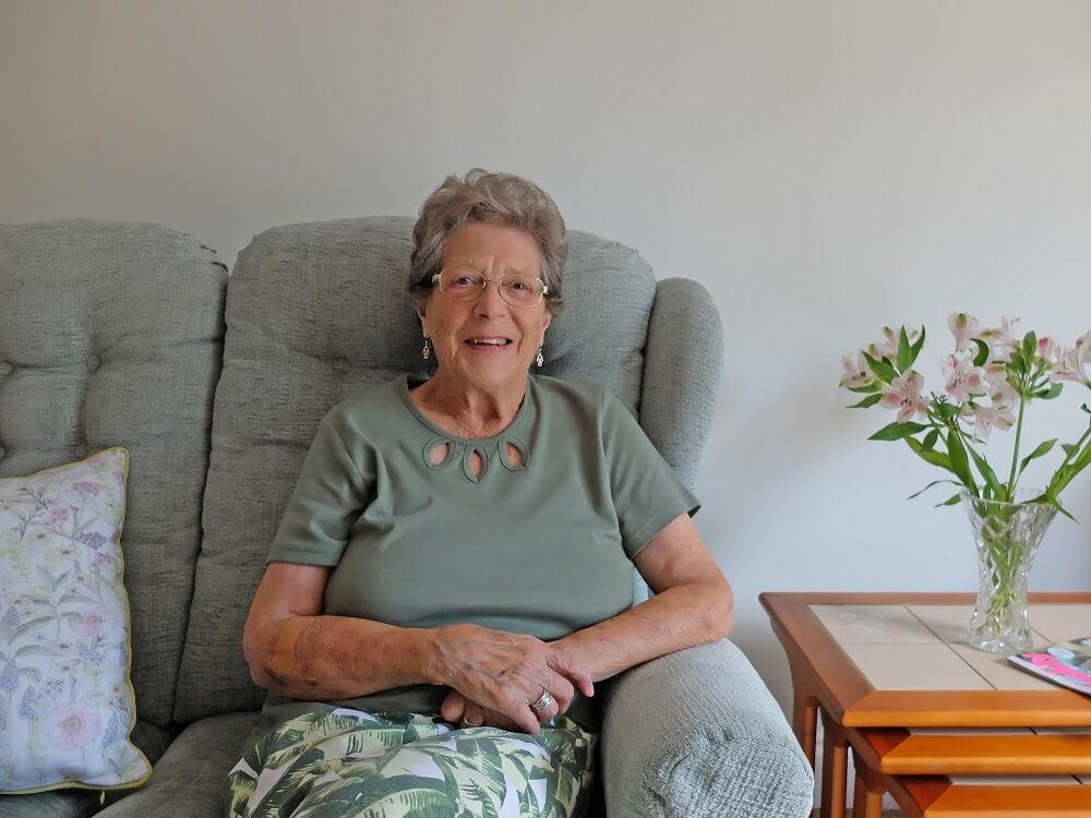 Jessie in her apartment at Rosewell House Extra care housing scheme