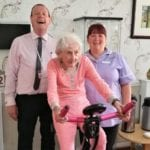 Margaret Waggit takes part in the cycling challenge