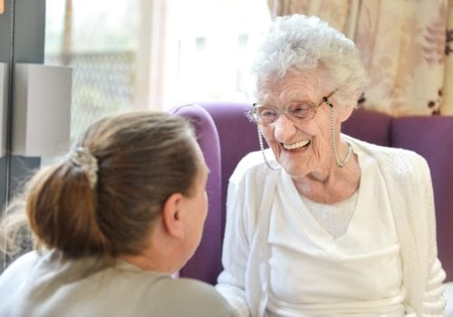 Resident and staff member at Ideal Carehomes' Newfield Lodge care home in Castleford