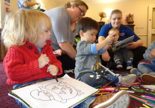 children visit care home in poole