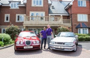 Hallmark Care Homes managing director, Avnish Goyal with regional director Kieron Walsh and their Rusty Rally cars.