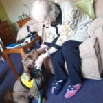 neale court resident having a cuddle with PAT dog daisy