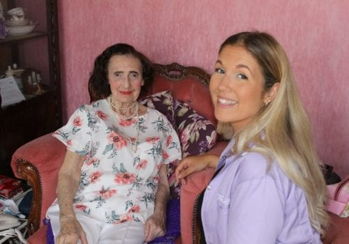 FraserCare Client and carer in living room