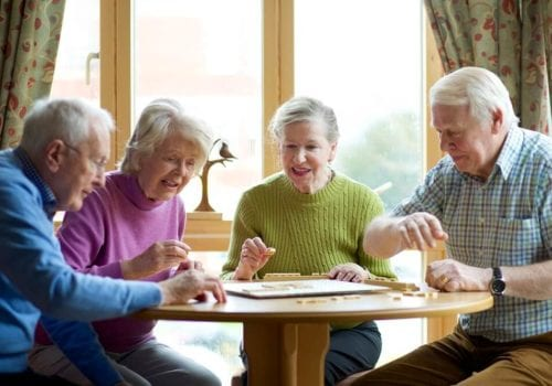 Residents at the hollies playing a board game