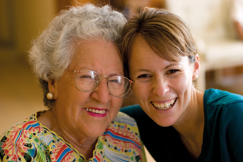 Carer and elderly lady