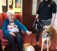 Simonsfield Care Home resident Peggy Quirk with Furnominal Pet Services owner Shelly Tunnicliffe ad dogs Lennie and Ollie.