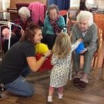boogie babes visit care home in intergenerational activity