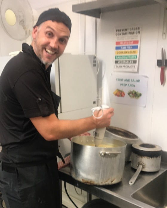 Finance Director Matt King goes back to the floor taking on cooking duties at Fornham house
