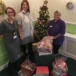 care home staff and present haul for shoebox appeal