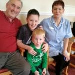 Ingleby Care Home resident John Hines, 12-year-old Louie Demery, four-year-old Joe Lawson, carer Julie Akram and resident Joyce Muir during a Funky Feet exercise session
