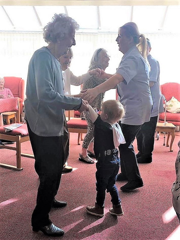 care home residents and youngsters improve fitness at funky feet session!