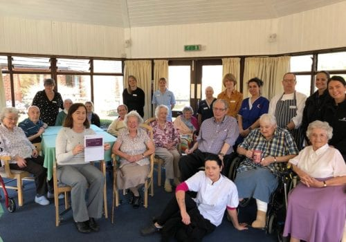 residents and staff at brendoncare park road celebrate their good rating