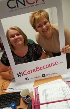 Community Nursing Care Agency (care in kent team) pose with selfie board