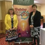 Hill Care Group managing director Wendy Waddicor and operations director Mandy Vernon announce Macmillan Cancer Support as the company's chosen charity for 2019/20 at their annual conference.