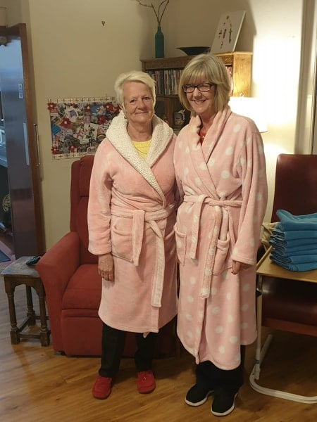 Janet Cartwright and Brenda Kerr in their dressing gowns