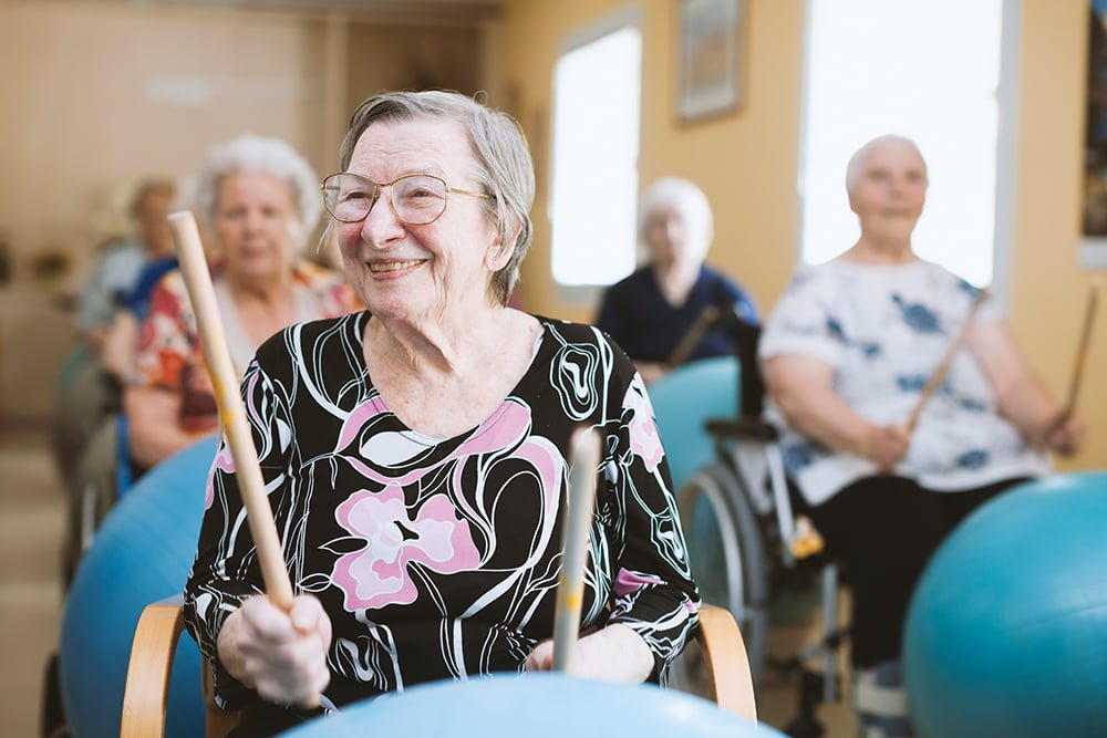 Seniors In The Nursing Home Beating drums