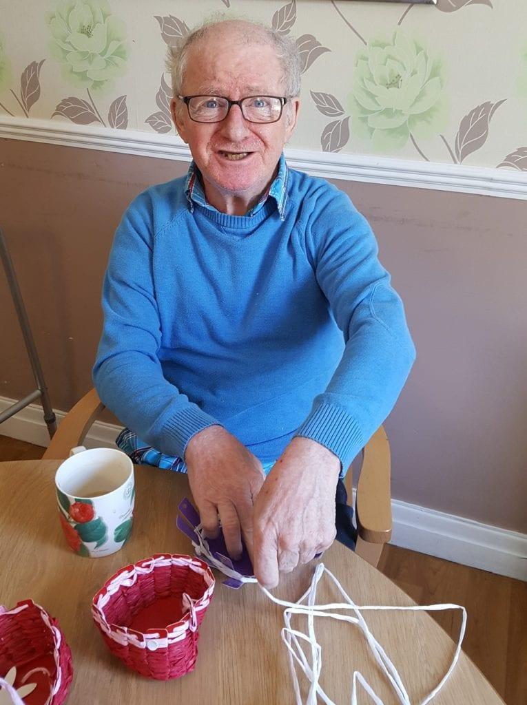 Waverley Lodge resident enjoying some basket weaving