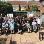 residents and staff from Fulford care and nursing home pose to promote their charity single