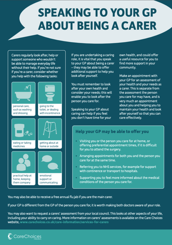 help sheet - speaking to your gp about being a carer - support for carers
