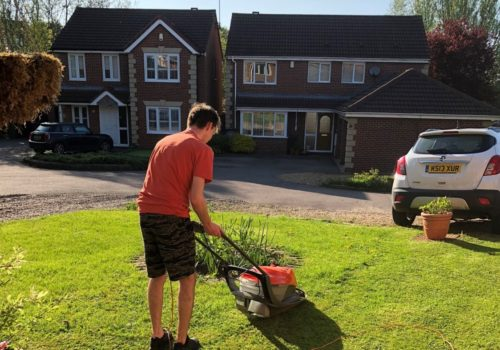 Shared Lives Lee mowing lawn