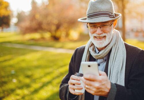 Elderly man staying positive in winter