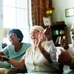 carehome residents watching tv