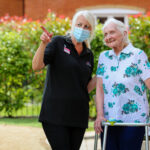Short stay resident Rita Satchwell and wellbeing manager